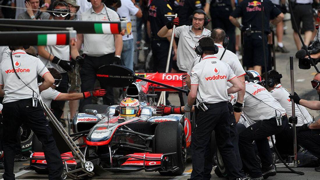 Lewis Hamilton Boxenstopp