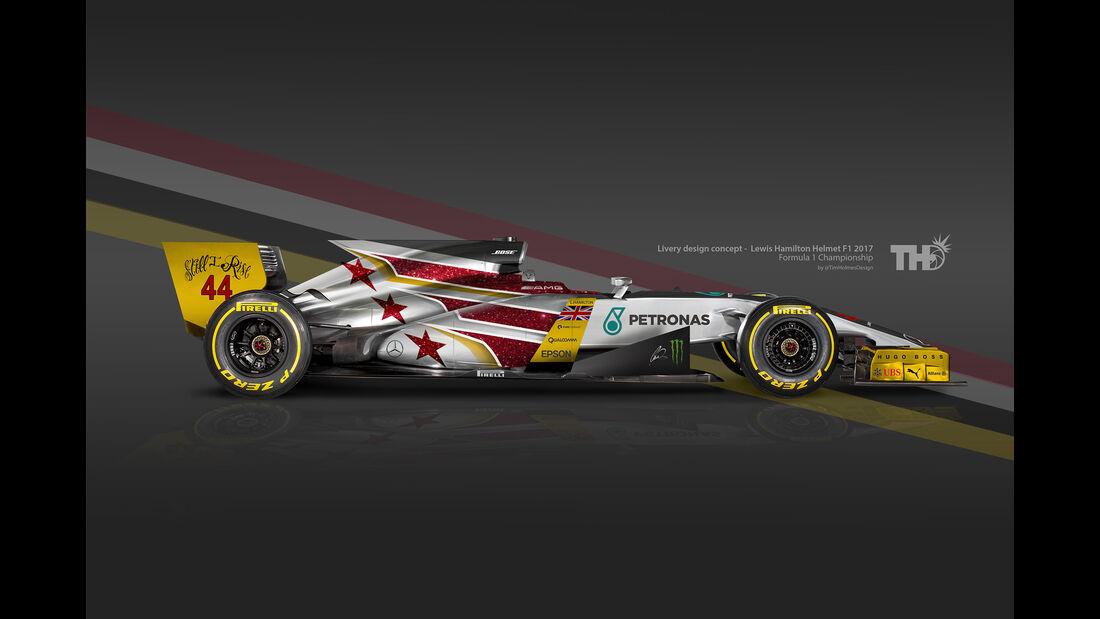 Lewis Hamilton - F1-Autos mit Helm-Lackierung - 2016