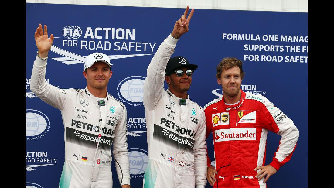 Lewis Hamilton - Nico Rosberg - Sebastian Vettel - Formel 1 - GP Monaco - Samstag- 23. Mai 2015