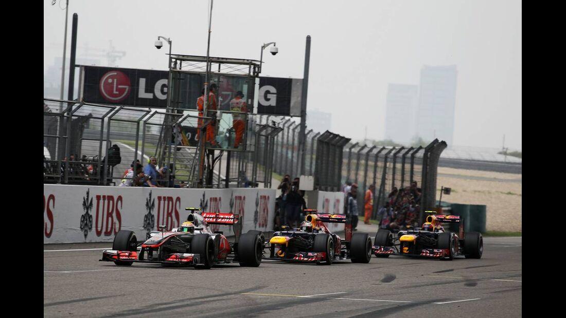 Lewis Hamilton - Sebastian Vettel - Mark Webber  - Formel 1 - GP China - 15. April 2012
