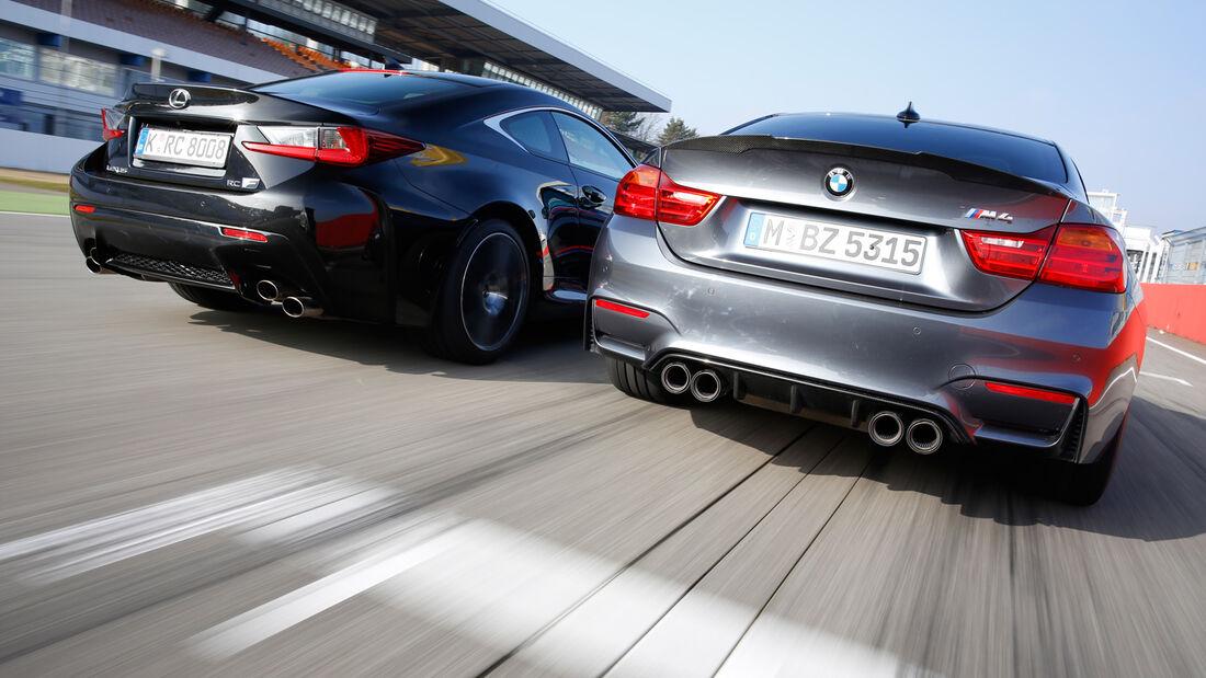 Lexus RC F, BMW M4 Performance, Heckansicht