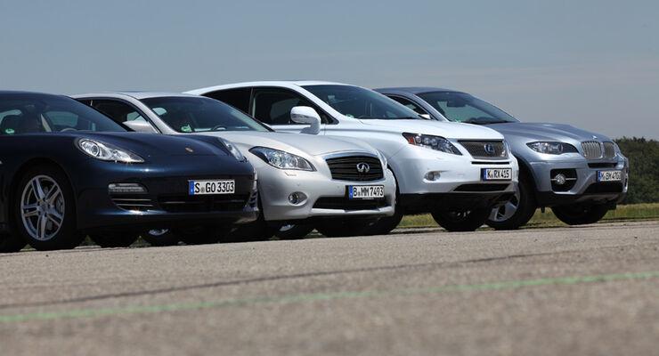 Lexus RX 450h, Infiniti M35h, Porsche Panamera S Hybrid, BMW X6 Active Hybrid, Front