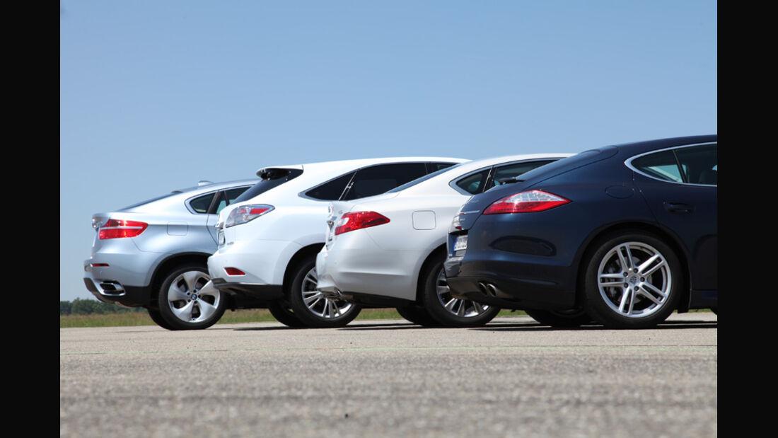 Lexus RX 450h, Infiniti M35h, Porsche Panamera S Hybrid, BMW X6 Active Hybrid, Heck