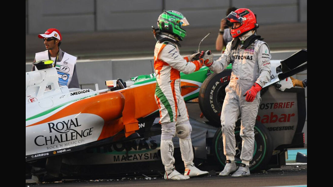 Liuzzi Schumacher Crash GP Abu Dhabi 2010