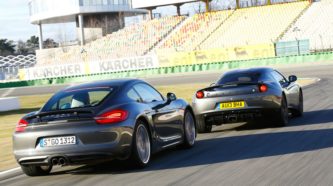 Lotus Evora S Sports Racer, Porsche Cayman S, Heckansicht