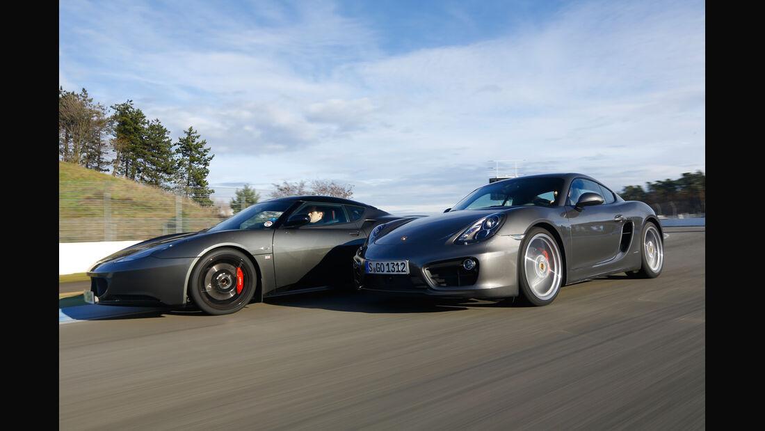 Lotus Evora S Sports Racer, Porsche Cayman S, Seitenansicht