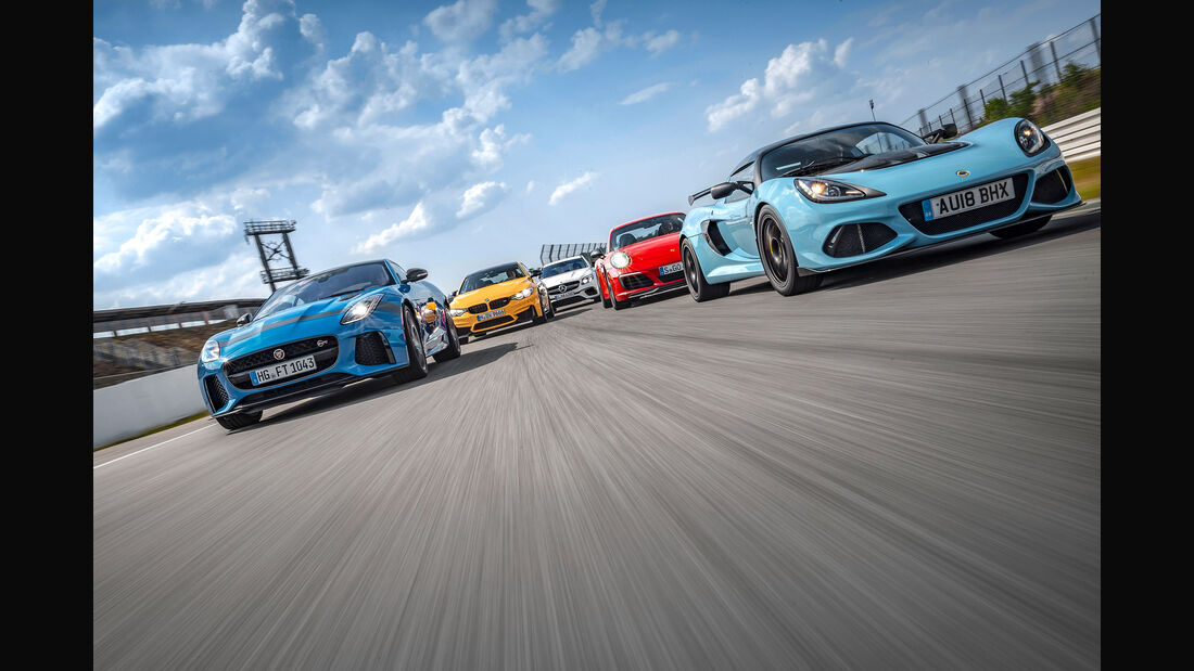 Lotus Exige Sport 410, Porsche 911 Carrera T, BMW M4, Mercedes-AMG E 63 S, Jaguar F-Type SVR - sport auto 9/2018