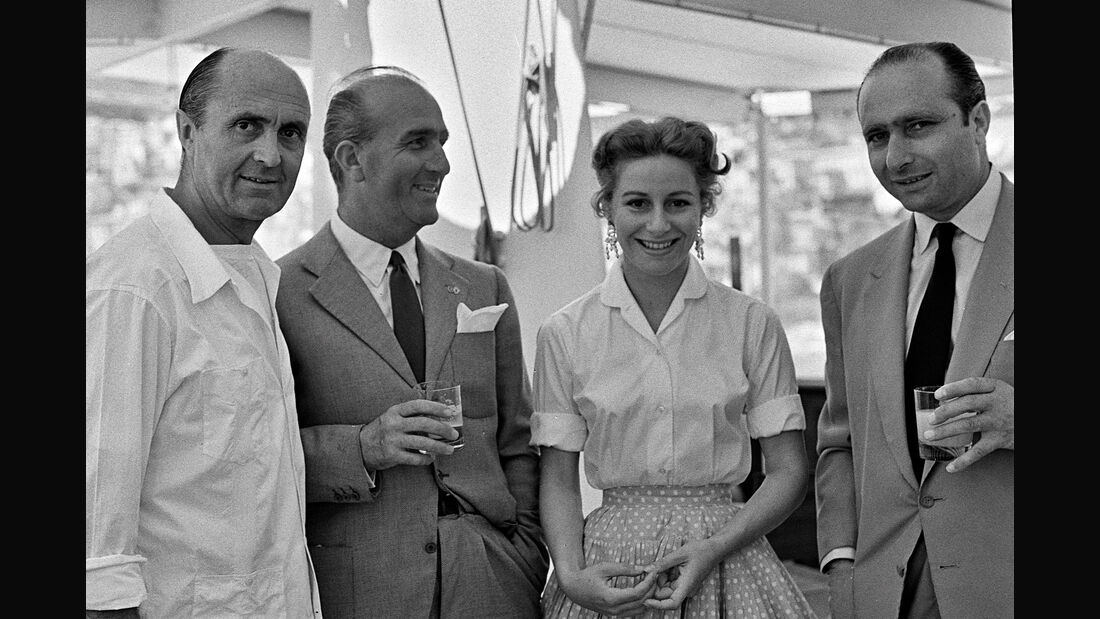 "Louis Chiron - Giuseppe ""Nino"" Farina - Athina ""Tina"" Onassis - Juan Manuel Fangio - GP Monaco 1955"