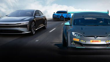 Lucid Air, Bugatti Chiron, Tesla Model S Plaid