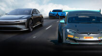 Lucid Air, Bugatti Chiron, Tesla Model S Plaid