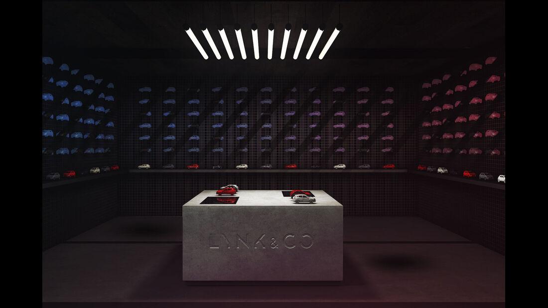 Lynk & Co Pop-up Store Concept Modellpalette