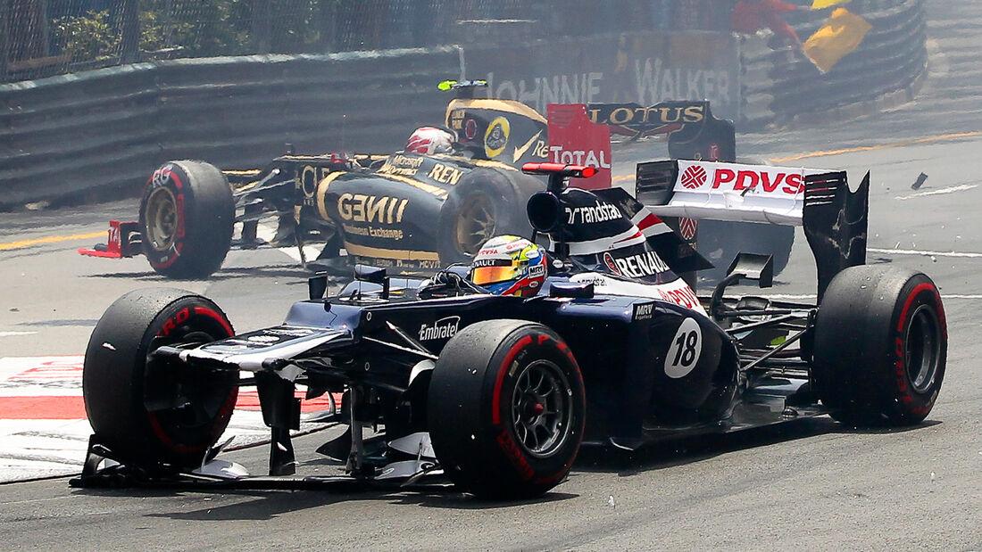 Maldonado Grosjean Crash GP Monaco 2012