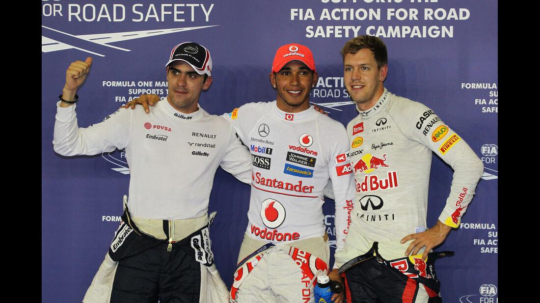 Maldonado, Hamilton & Vettel F1 Singapur 2012