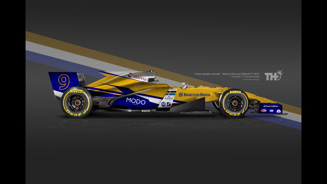 Marcus Ericsson - F1-Autos mit Helm-Lackierung - 2016