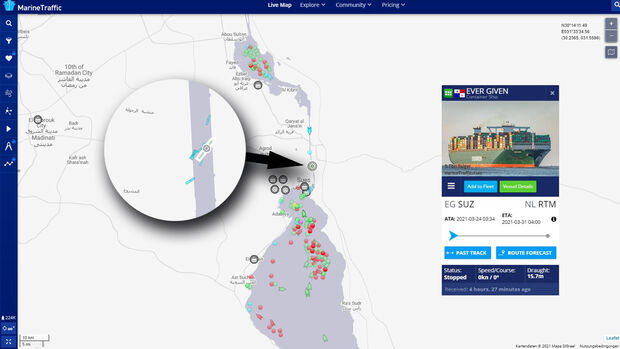 Marinetraffic Karte Ever Given Suezkanal Havarie