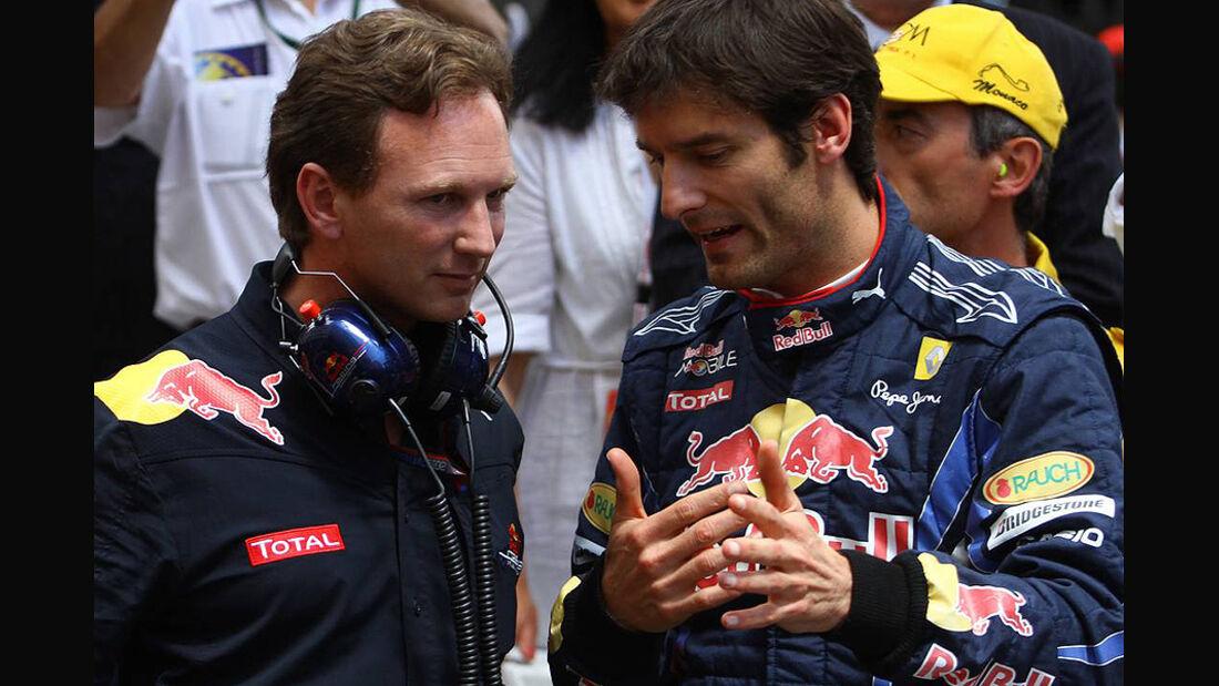 Mark Webber Christian Horner Red Bull