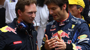 Mark Webber Christian Horner Red Bull