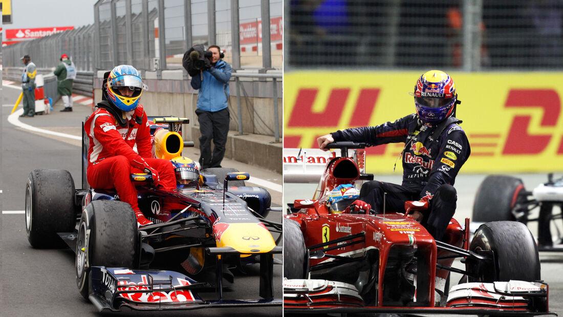 Mark Webber & Fernando Alonso Taxi