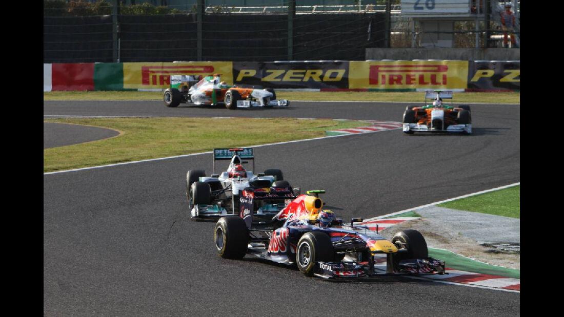Mark Webber - Michael Schumacher  - Formel 1 - GP Japan - 9. Oktober 2011