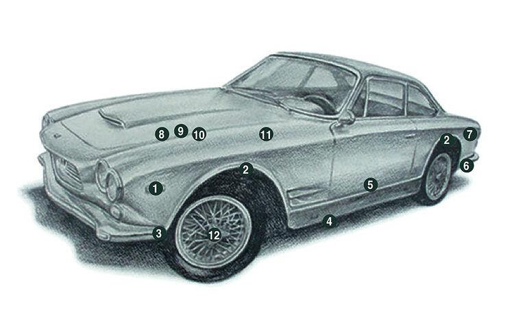 Maserati 4000 GTI Sebring - technische Zeichnung