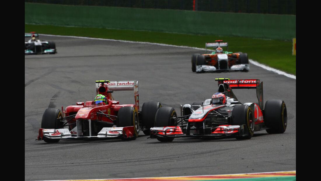 Massa & Button Rennen GP Belgien 2011