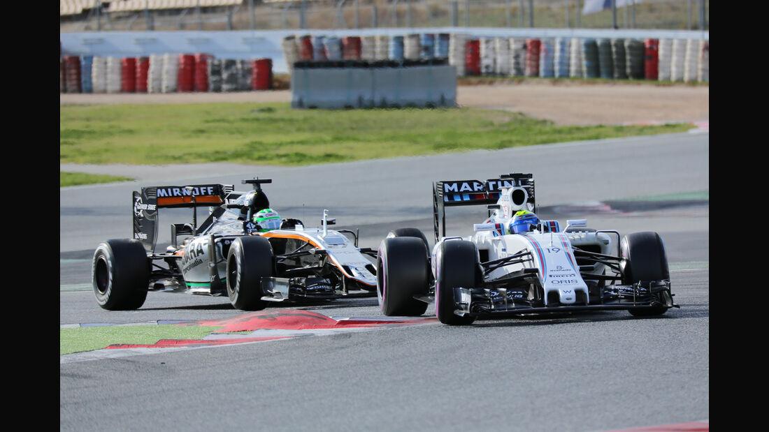 Massa & Perez - Williams vs. Force India - Formel 1-Test - Barcelona - 3. März 2016