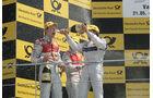 Mattias Ekström, Martin Tomczyk und Bruno Spengler feiern bei der Siegerehrung - DTM Valencia 2010