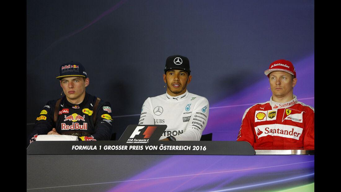 Max Verstappen - Lewis Hamilton - Kimi Räikkönen - Formel 1 - GP Österreich - 3. Juli 2016