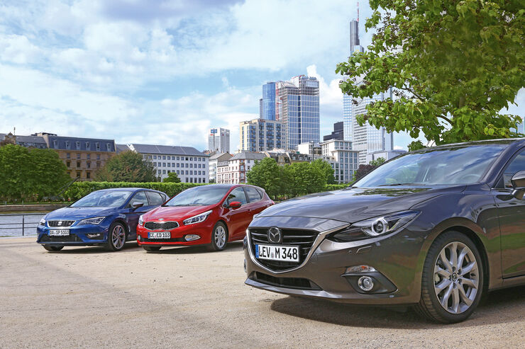 Mazda 3, Kia Cee'd, Seat León, Frontansicht