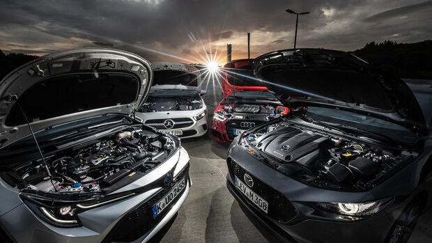Mazda 3 Skyactiv-X 2.0, Audi A3 SB 40 TFSI Quattro, Mercedes A 220 d, Toyota Corolla TS 2.0 Hybrid, Motoren