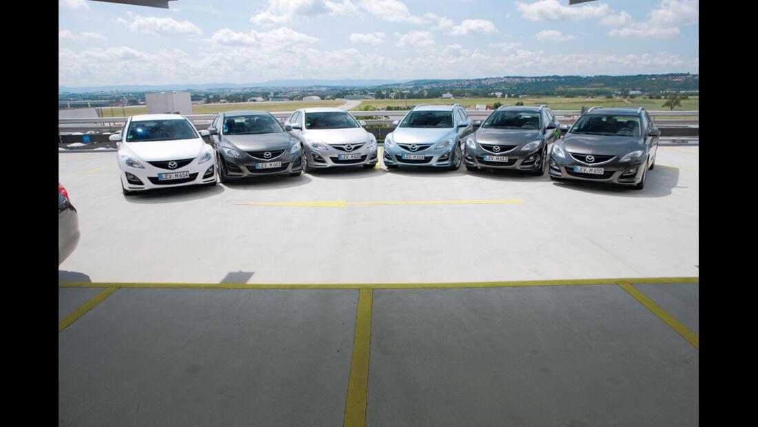 Mazda 6, Frontansicht, verschiedene Modelle, Gruppenbild