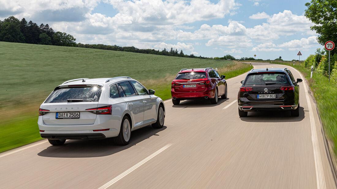 Mazda 6 Kombi D 184 Sports-Line, Skoda Superb Combi 2.0 TDI Style, VW Passat Variant 2.0 TDI Elegance, Exterieur
