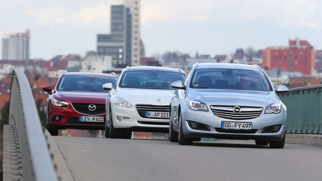 Mazda 6 Kombi, Opel Insignia Sports Tourer, Peugeot 508, Frontansicht