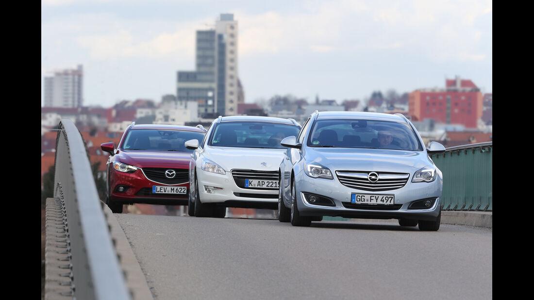 Mazda 6 Kombi, Opel Insignia Sports Tourer, Peugeot 508, Frontansicht