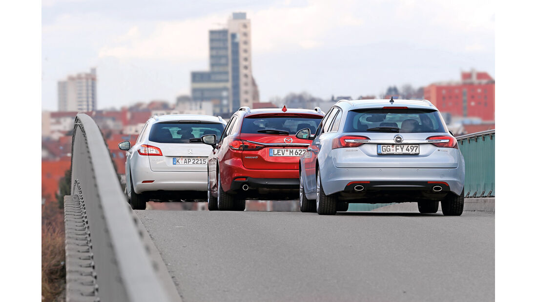 Mazda 6 Kombi, Opel Insignia Sports Tourer, Peugeot 508, Heckansicht