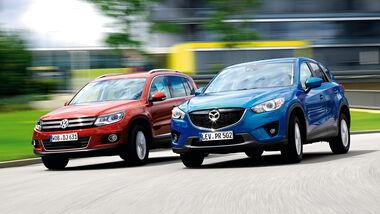 Mazda CX-5 2.0 Skyactiv-G AWD, VW Tiguan 1.4 TSI  1.4 TSI 4Motion, Frontansicht