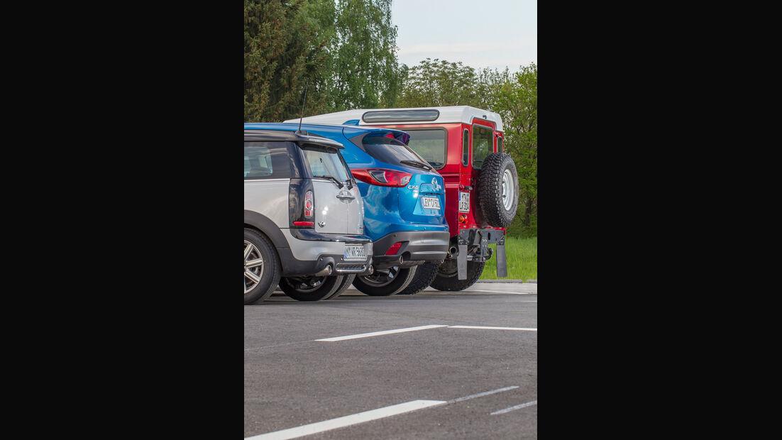 Mazda CX-5 2.2 D, Land Rover Defender, Mini Clubman SD