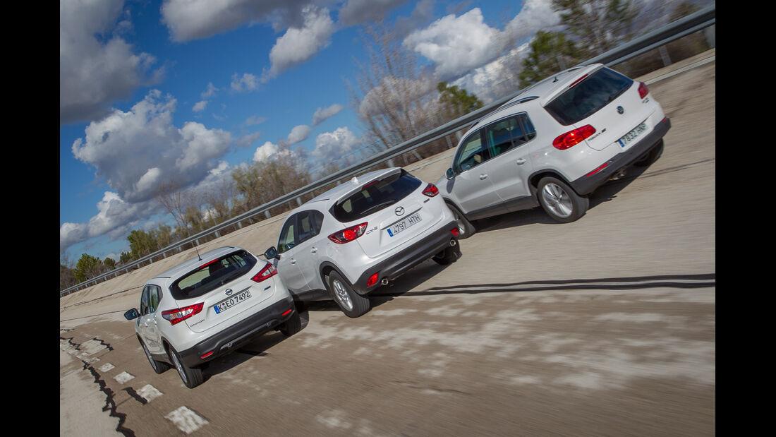 Mazda CX-5, Nissan Qashqai, VW Tiguan, Heckansicht