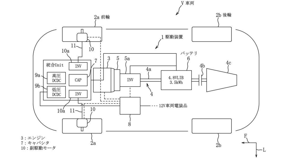 Mazda Hybrid Konzept Radnabenmotoren Kondensator