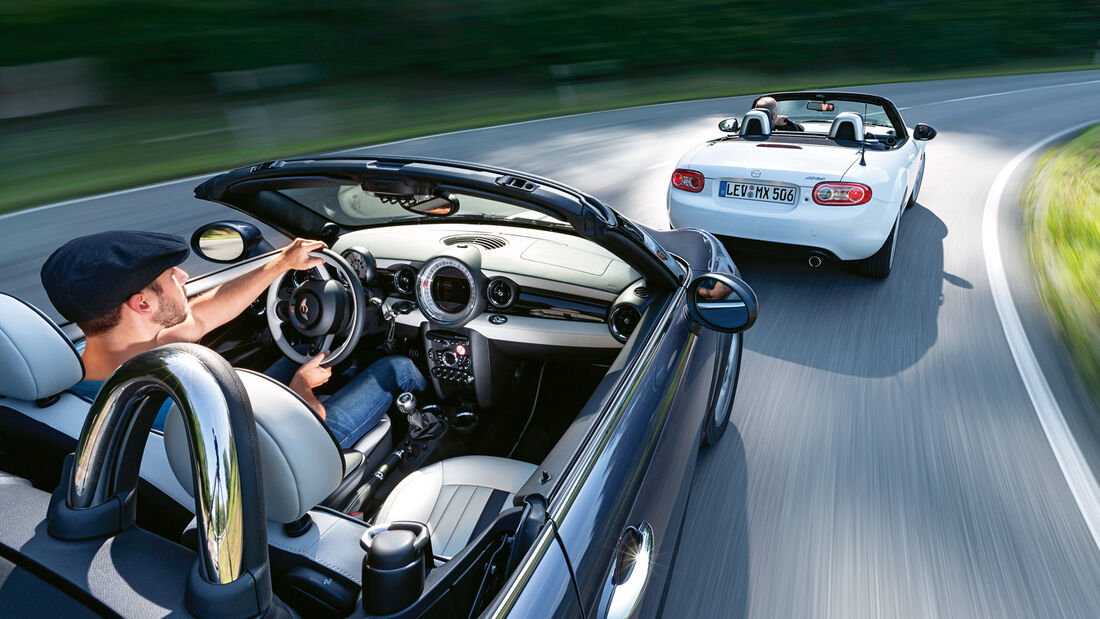 Mazda MX-5 2.0 MZR, Mini Cooper S Roadster, Heckansicht