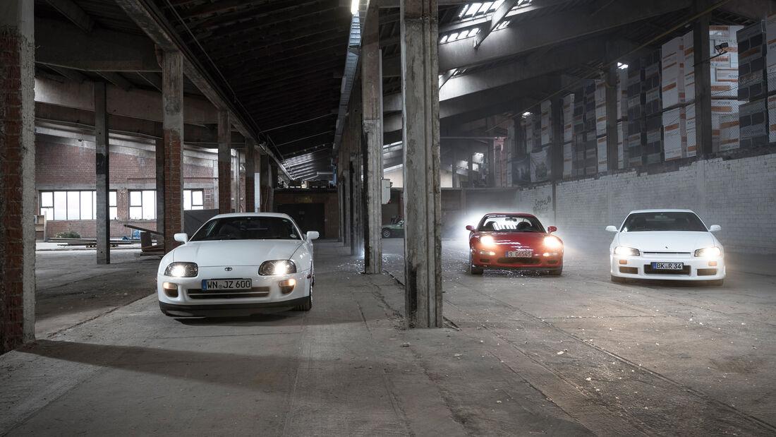 Mazda RX-7, Nissan Skyline, Toyota Supra, Frontansicht