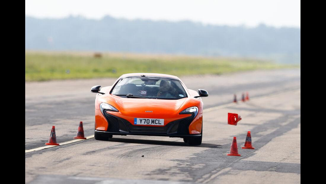 McLaren 650S Spider, Frontansicht, Bremstest