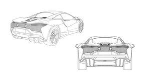 McLaren Hybrid Sportwagen Patent Zeichnung