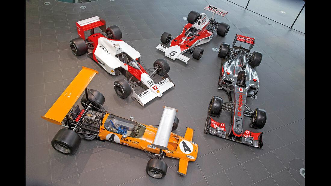 McLaren M7A, McLaren M23, McLaren MP4-4, McLaren MP4-27, von oben