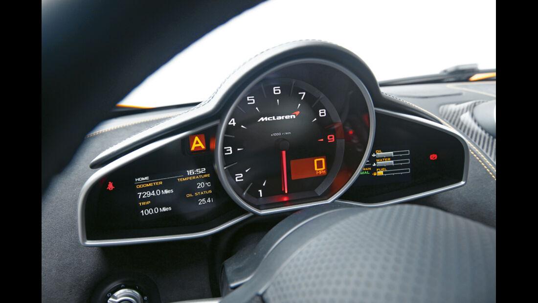 McLaren MP4-12C, Anzeigeinstrumente, Detail