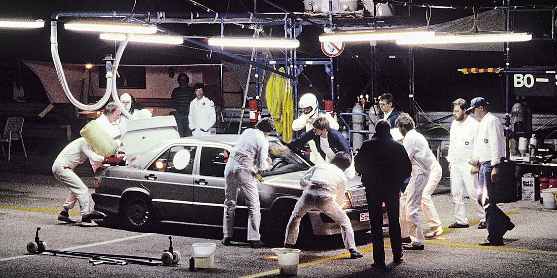 Mercedes 190 E 2.3-16, Nardo, Boxenstopp