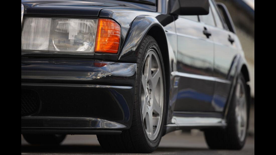 Mercedes 190 E 2.5-16 EVO II, Detailansicht, Rad, Scheinwerfer
