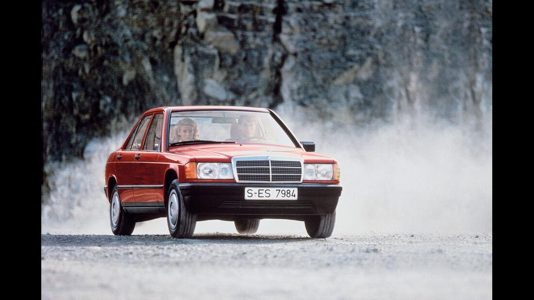 Mercedes 190, Front, Kurvenfahrt