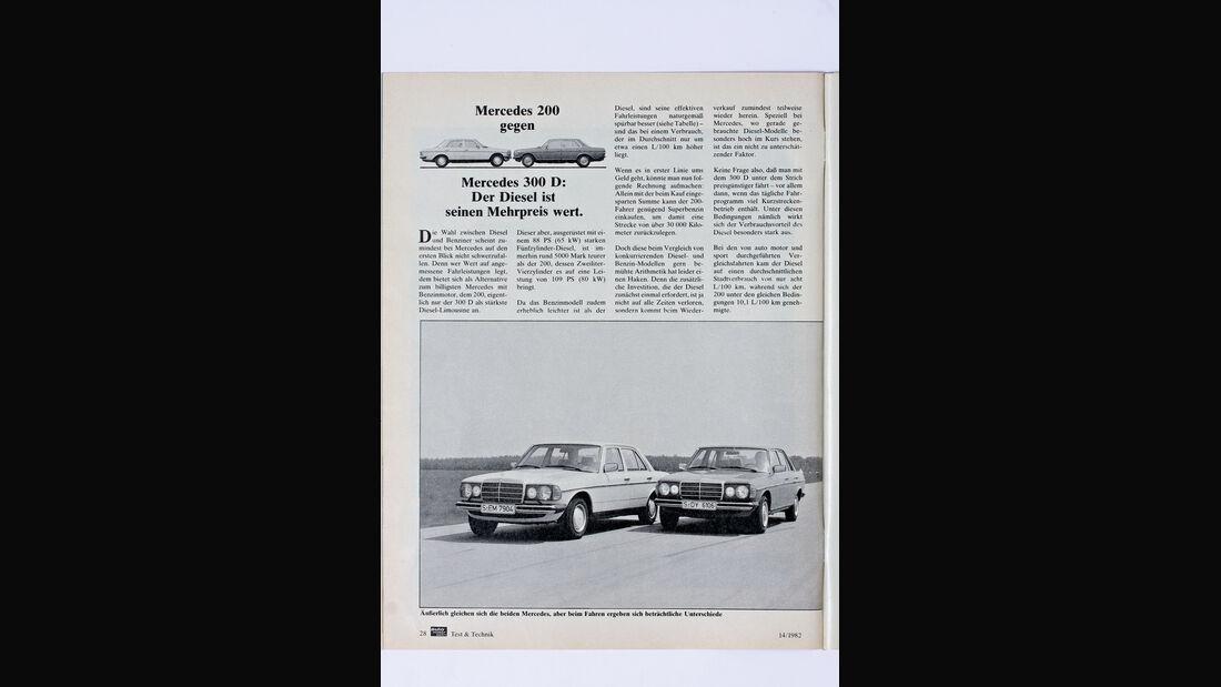 Mercedes 200, Mercedes 300D, Alter Bericht