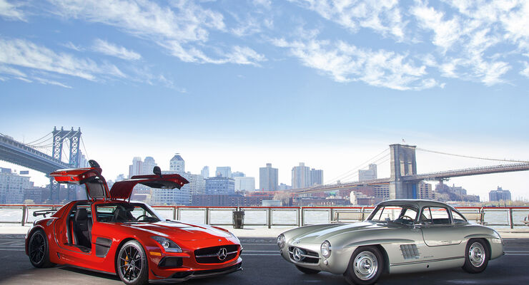 Mercedes 300 SL, Mercedes SLS AMG Black Series, New York, Impression